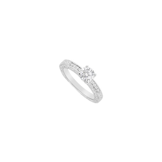 White White Cubic Zirconia Round & Channel Set Engagement In Sterling Silver Ring White White Cubic Zirconia Round & Channel Set Engagement In Sterling Silver Ring Image 1