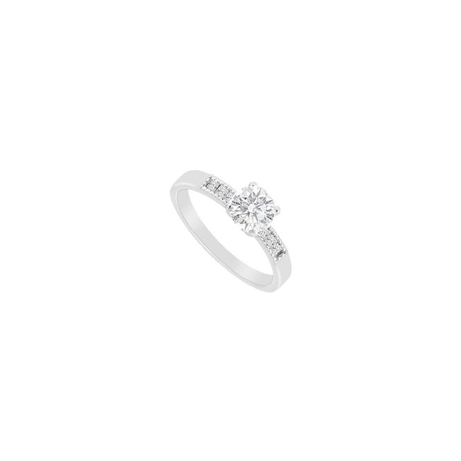 White White Cubic Zirconia Round & Princess Cut Engagement In Sterling Silver Ring White White Cubic Zirconia Round & Princess Cut Engagement In Sterling Silver Ring Image 1