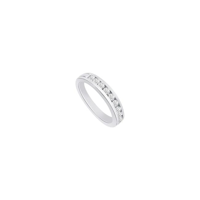 White White Cubic Zirconia Semi Eternity Channel Set Wedding Band Sterling Silver Ring White White Cubic Zirconia Semi Eternity Channel Set Wedding Band Sterling Silver Ring Image 1