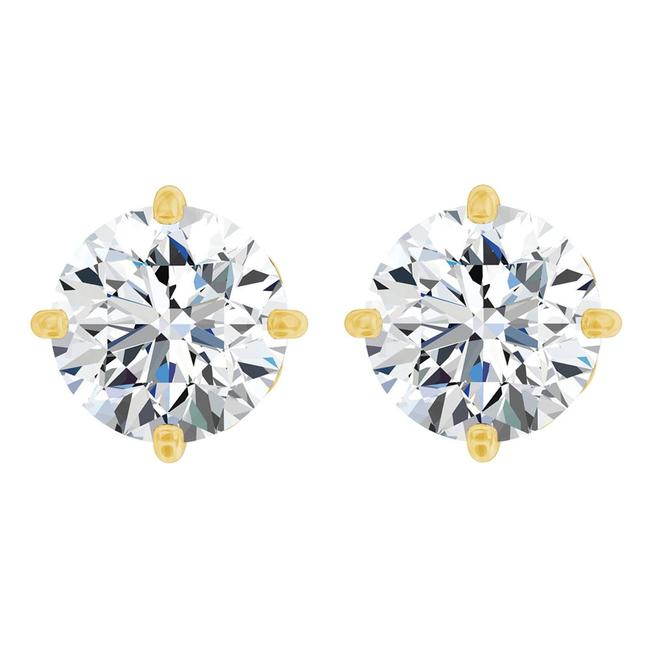 White 2.00 Carat Cz Fleur De Lis 14k Yellow Gold Earrings White 2.00 Carat Cz Fleur De Lis 14k Yellow Gold Earrings Image 1