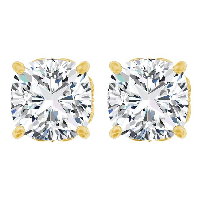 White Antique Square 4 Prong 14k Yellow Gold with Cz Earrings White Antique Square 4 Prong 14k Yellow Gold with Cz Earrings Image 1