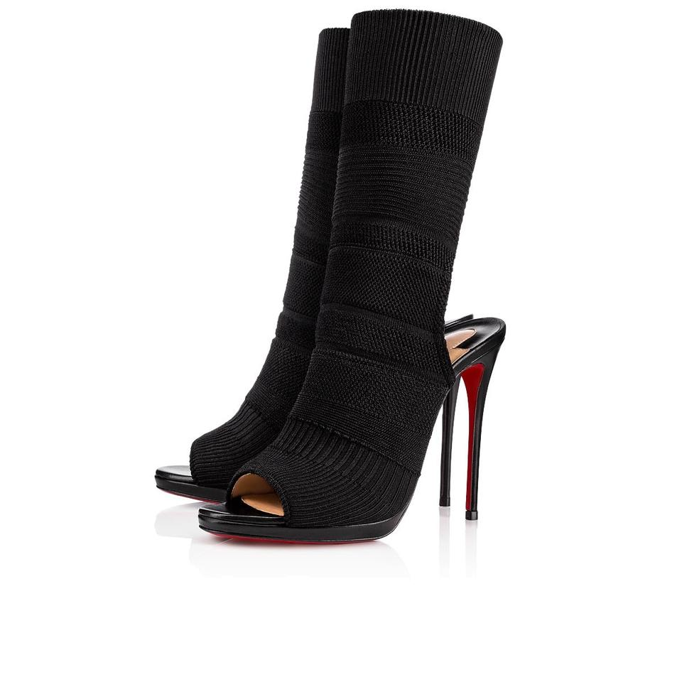 a6ac6465803 Christian Louboutin Black Classic Cheminene 120mm Cutout Stretch-knit and  Leather Sock Boots Pumps Size EU 39 (Approx. US 9) Regular (M, B) 38% off  ...