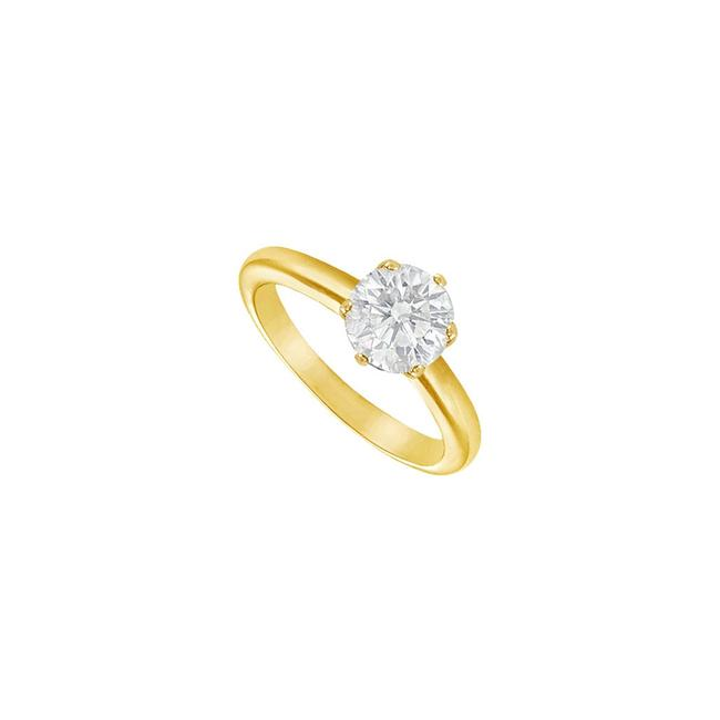 Yellow White Cubic Zirconia Solitaire 18k Gold Vermeil Ring Yellow White Cubic Zirconia Solitaire 18k Gold Vermeil Ring Image 1