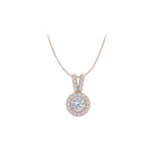 White Halo Pendant with Cz In 14k Rose Gold Vermeil For Her Necklace White Halo Pendant with Cz In 14k Rose Gold Vermeil For Her Necklace Image 1