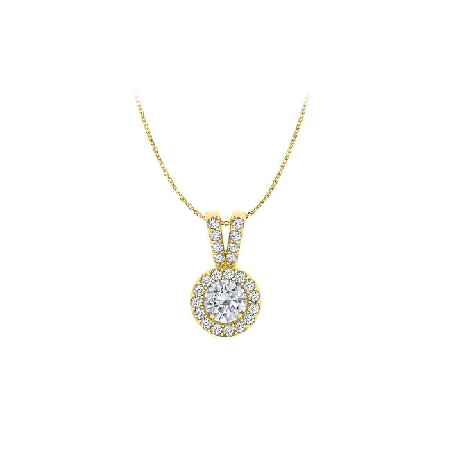 White Halo Pendant with Cz In 18k Yellow Gold Vermeil For Her Necklace White Halo Pendant with Cz In 18k Yellow Gold Vermeil For Her Necklace Image 1