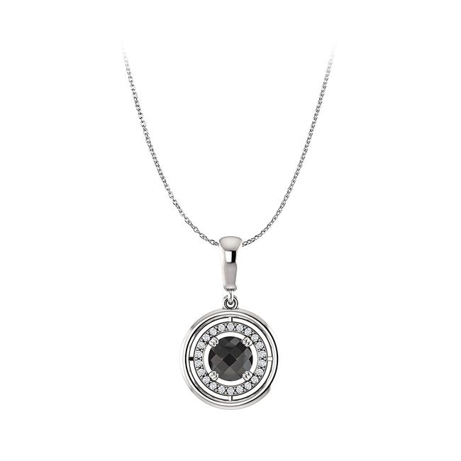 Black Onyx Cubic Zirconia Circle Pendant In 925 Silvers Necklace Black Onyx Cubic Zirconia Circle Pendant In 925 Silvers Necklace Image 1