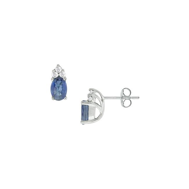 Blue Created Sapphire and Cubic Zirconia 14k White Gold 1.00 Earrings Blue Created Sapphire and Cubic Zirconia 14k White Gold 1.00 Earrings Image 1