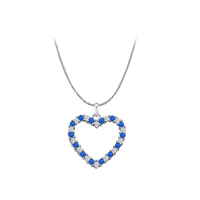 Blue Created Sapphire and Cubic Zirconia Heart Pendant In 925 Sterling Necklace Blue Created Sapphire and Cubic Zirconia Heart Pendant In 925 Sterling Necklace Image 1