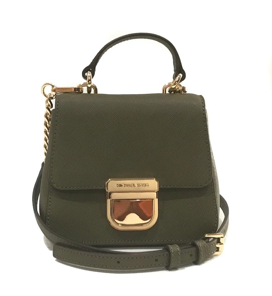 Michael Kors Bridgette Mini Th Convertible Green Leather Cross Body ... 88b21918b5