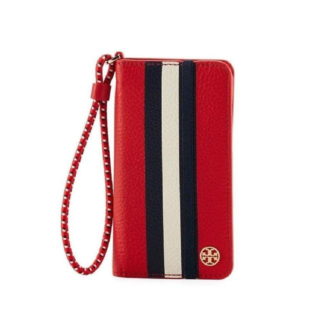 Item - Red White Navy Blue Nautical New Stripe Iphone Leather Case Wristlet Tech Accessory