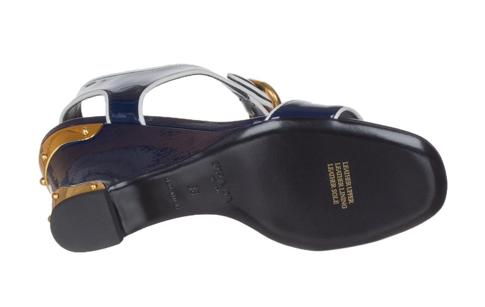 3a1724b36b3 Prada Navy Blue Women s Patent Leather Sandals Wedges Size US 8 ...