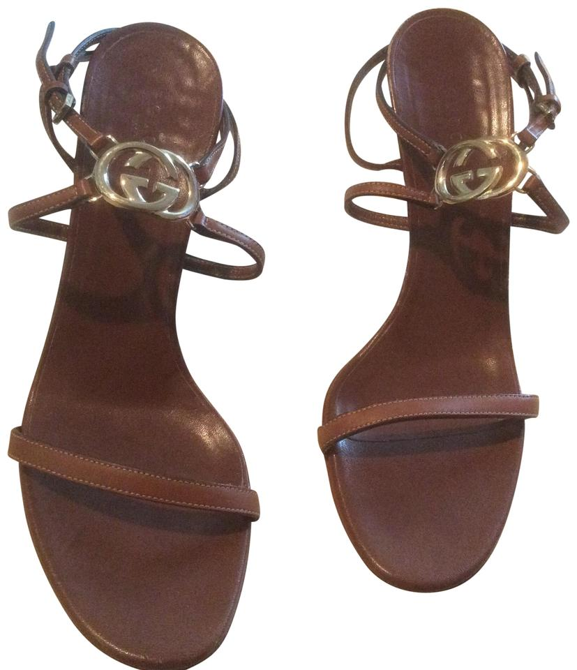209cbeda9 Gucci Brown Strappy Leather Heel Sandals. Size  US 8.5 Regular (M ...