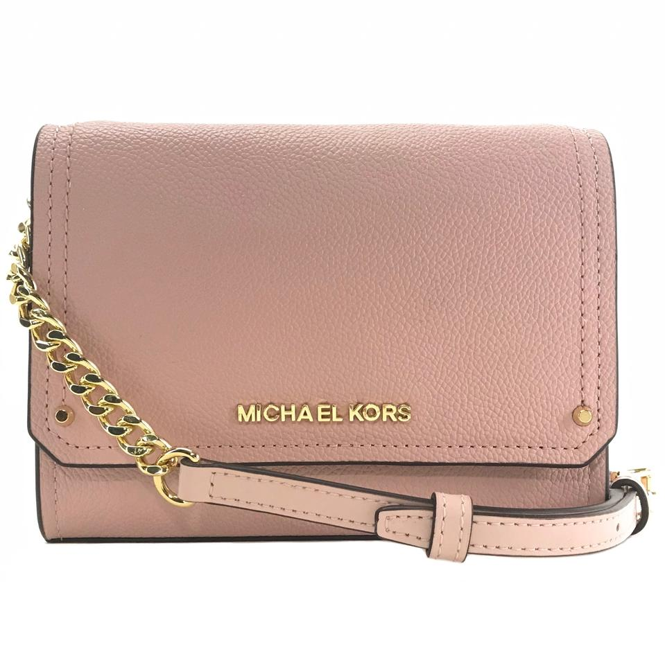 26ae2181a56f Michael Kors Hayes Small Convertible Clutch Pink Leather Cross Body ...