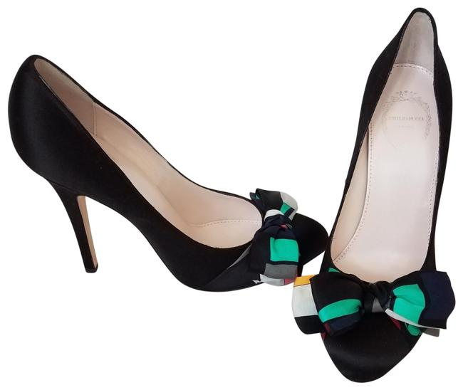 Emilio Pucci Black Satin with Bow. 784929 Pumps Size US 8 Regular (M, B) Emilio Pucci Black Satin with Bow. 784929 Pumps Size US 8 Regular (M, B) Image 1