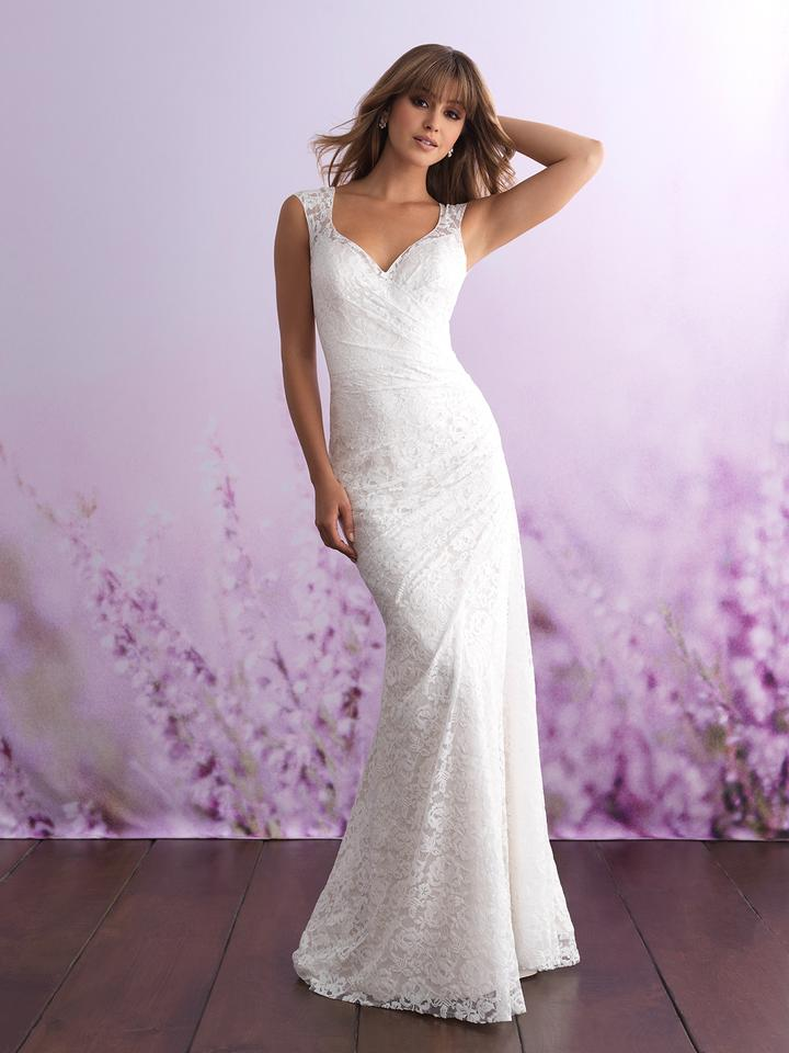 Allure Bridals Ivory Sheet Lace 3104 Casual Wedding Dress Size 8 M