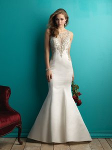 Allure Bridals Ivory/Silver Beaded Lace Over Satin 9252 Formal Wedding Dress Size 10 (M)