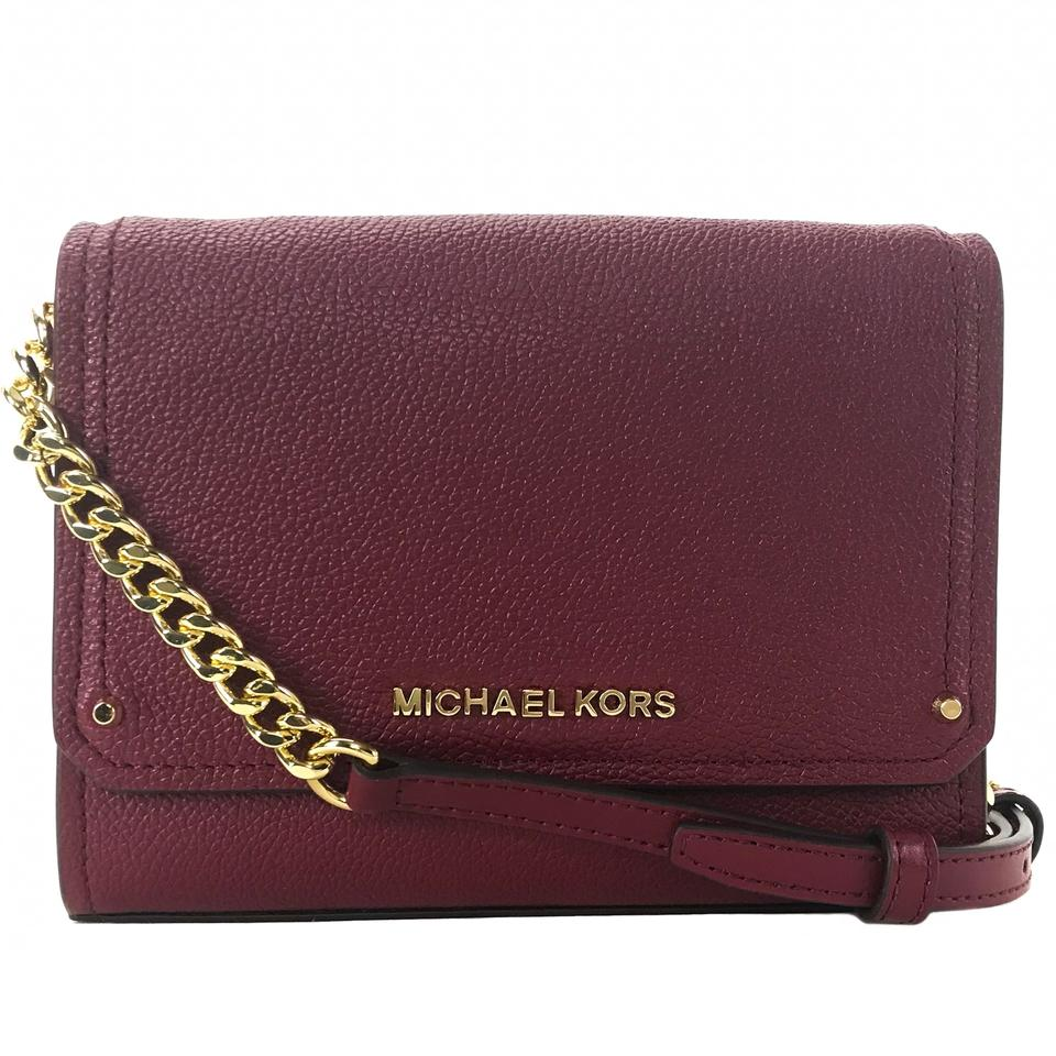 Michael Kors Hayes Small Convertible Clutch Red Leather Cross Body ... 855be1714ffbb