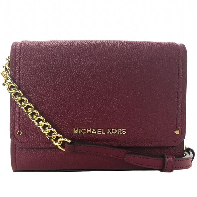 MICHAEL Michael Kors Clutch Hayes Small Convertible Red Leather Cross Body Bag MICHAEL Michael Kors Clutch Hayes Small Convertible Red Leather Cross Body Bag Image 1