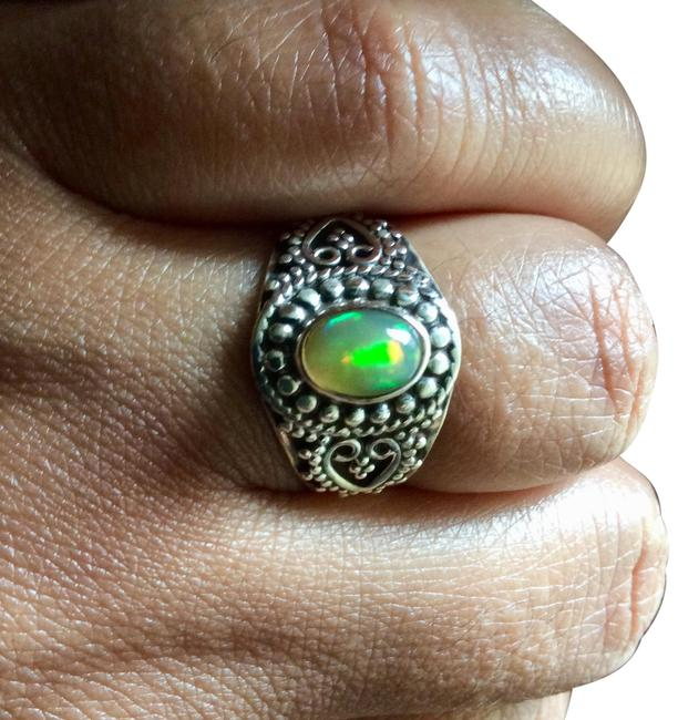 Silver Genuine Fire Opal .925 Sterling Ring Silver Genuine Fire Opal .925 Sterling Ring Image 1