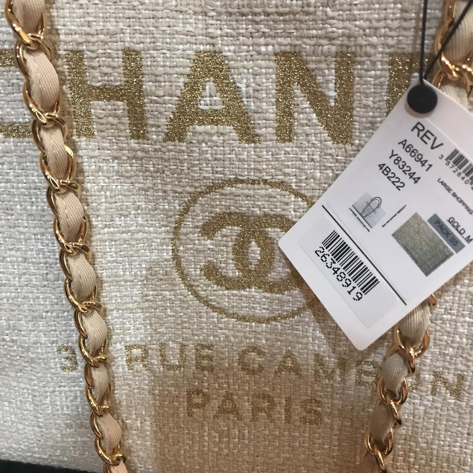 cab17a95bf9a Chanel New Deauville 30cm 30cm Tote in light beige Image 11. 123456789101112