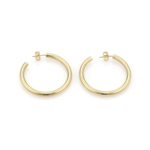 Tiffany & Co. Medium Size 3.2mm Hoop 18k Gold Earrings