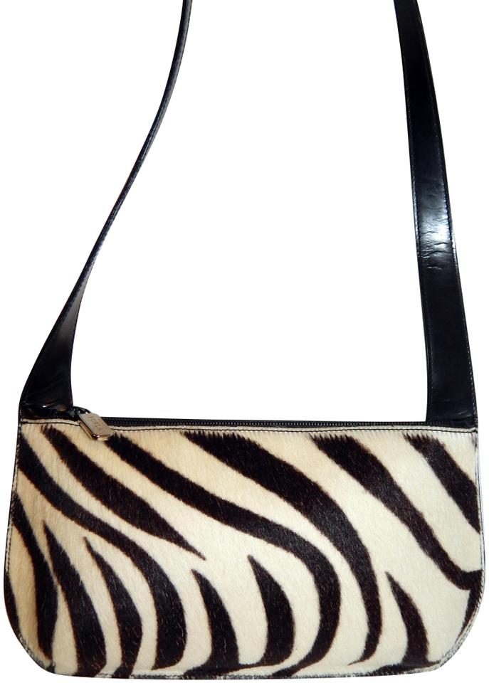 934be181eb2f87 Furla Zebra Calf Hair Black Slim Multicolor Leather Shoulder Bag ...