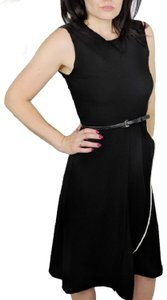 Max Mara Crepe Faux Wrap Belted Sleeveless Career Dress