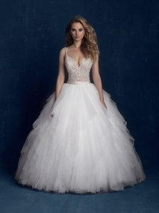Allure Bridals Ivory/Champagne/Silver Beaded Top and Tulle Skirt 9425 Modern Wedding Dress Size 6 (S)