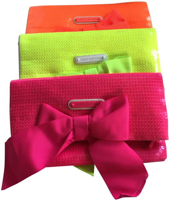 Juicy Couture Neon Pink Sequin Canvas Clutch Juicy Couture Neon Pink Sequin Canvas Clutch Image 1