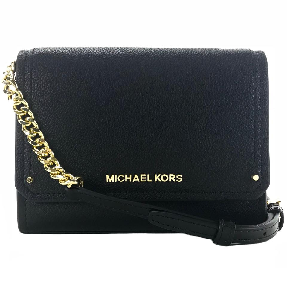 2b856df54b Michael Kors Hayes Small Convertible Clutch Black Leather Cross Body ...