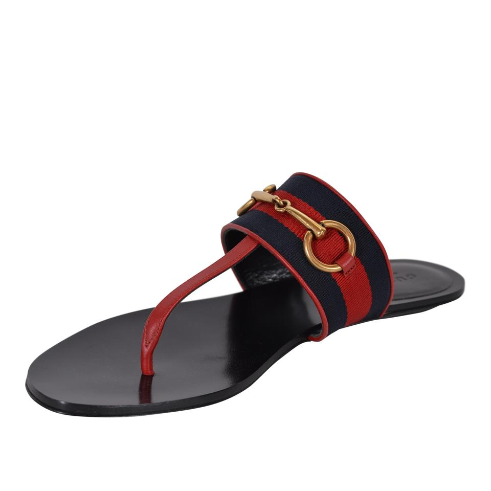 293bc2e9b5e Gucci Black Horsebit New Women s 435232 Leather Blue Red Web Thongs ...
