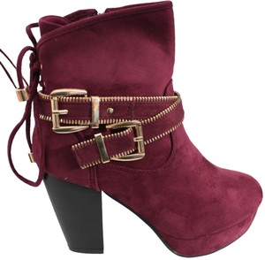 Forever Ankle Size 7.5 Block Heel Buckle Zipper Burgundy Boots