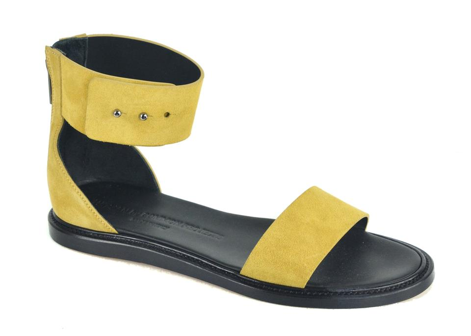Common Tan Projects Yellow Women By Tan Common Suede Zip Ankle Strap Sandals 14ed3b