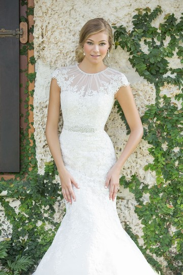 Preload https://img-static.tradesy.com/item/23865577/madison-james-champagneivorysilver-lace-applique-w-beaded-neck-mj10-modest-wedding-dress-size-8-m-0-1-540-540.jpg