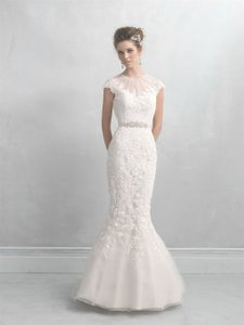 MADISON JAMES Champagne/Ivory/Silver Lace Applique with Beaded Neckline Mj10 Modest Wedding Dress Size 8 (M)