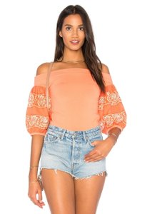 Free People Embroidered Top Orange, White