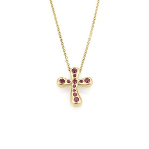 432fb99b8068c Tiffany & Co. 22067_ Elsa Peretti Red Ruby 18k Yellow Gold Cross Pendant  Necklace
