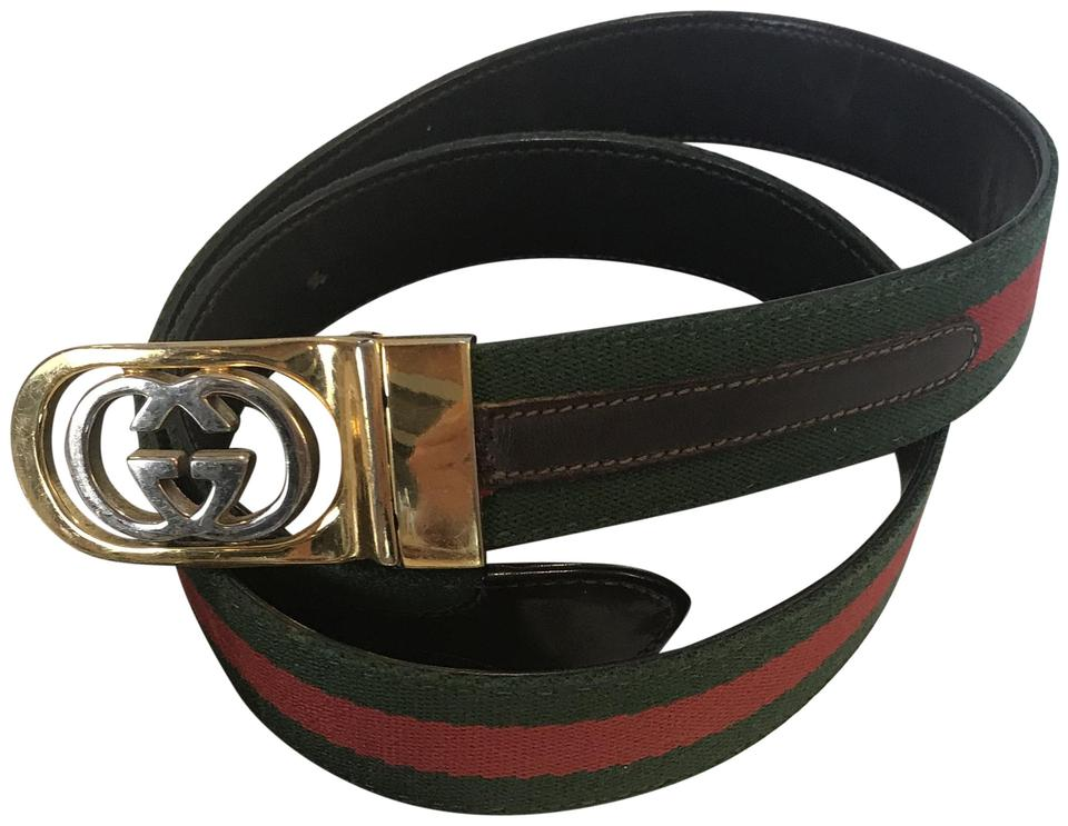 f73cbd9d712 Gucci Brown Leather Red Green Web Fabric Size 85 34 Belt - Tradesy