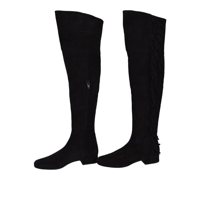 Saint Laurent Black New Ysl 495 Suede Fringed Over The Knee Boots/Booties Size US 5 Regular (M, B) Saint Laurent Black New Ysl 495 Suede Fringed Over The Knee Boots/Booties Size US 5 Regular (M, B) Image 1