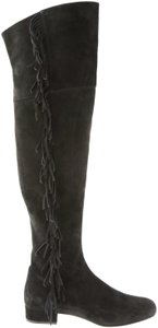 Saint Laurent Over The Knee Thigh High Fringed Ysl Black Boots