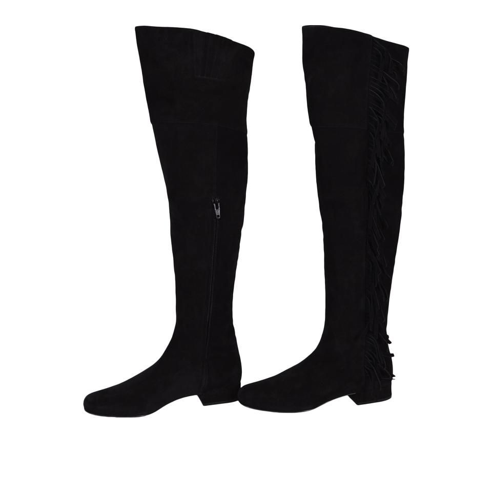 9fe47026fb8 Saint Laurent Over The Knee Thigh High Fringed Ysl Black Boots Image 0 ...