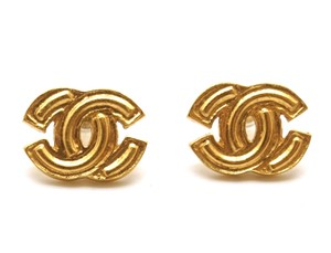 Chanel Timeless CC textured gold pierced stud earrings