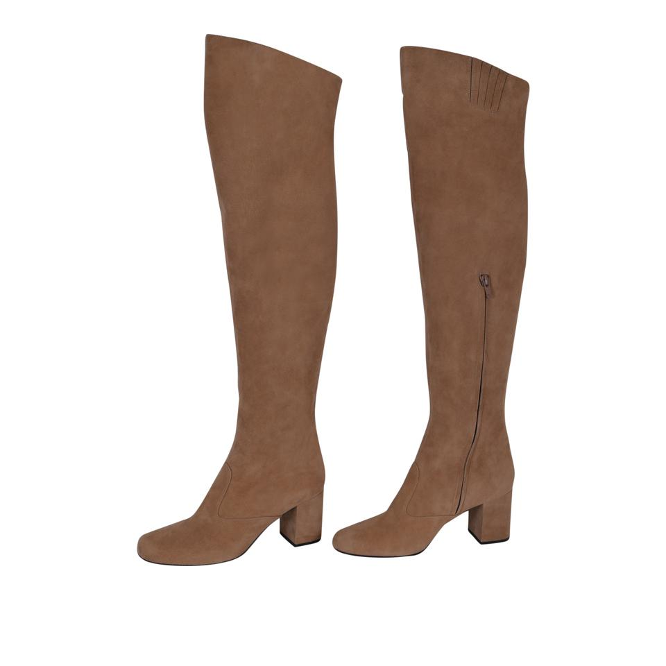 Suede Boots Brown 495 Laurent Ysl Booties Tan 393826 New Over Saint The Knee WFSqw0Oc