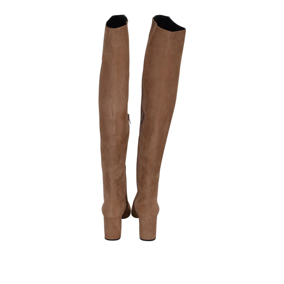 4c81f1f99c6 ... New Boots Suede Ysl Tan The Laurent 393826 Booties 495 Brown Over Saint  Knee E01PqwZx0 ...