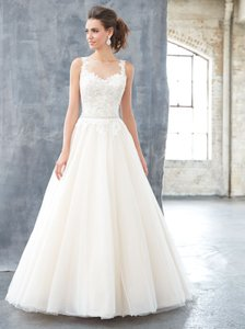 MADISON JAMES Ivory/Nude/Silver Beaded Bodice and Tulle Skirt Mj304 Traditional Wedding Dress Size 14 (L)