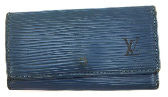 Louis Vuitton #25373 Blue Epi Leather Trifold 4 Ring Key Holder Monogram Lv Logo Wallet Louis Vuitton #25373 Blue Epi Leather Trifold 4 Ring Key Holder Monogram Lv Logo Wallet Image 1