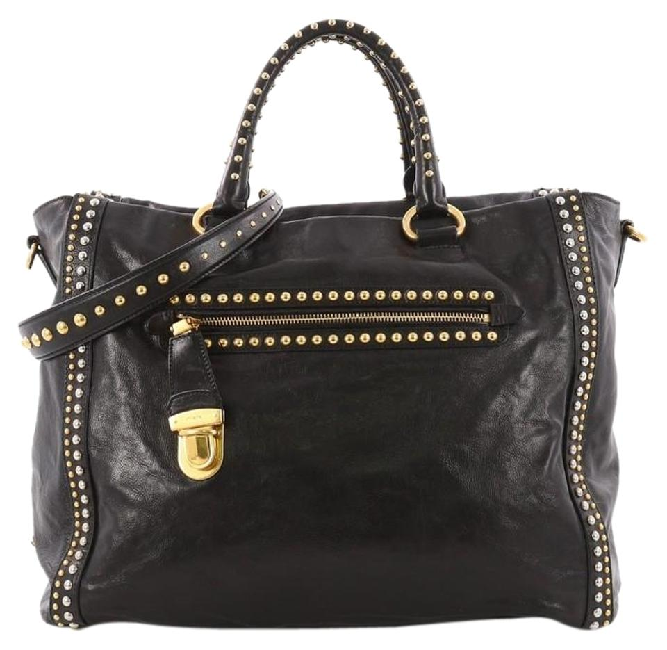 Leather Studded Lock Press Satchel Front Tote Pocket Prada Large Black O8qxHgW4