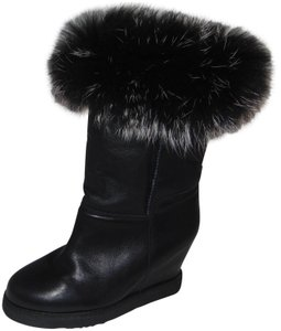 Australia Luxe Collective Black Real Fox Fur Trim Boots