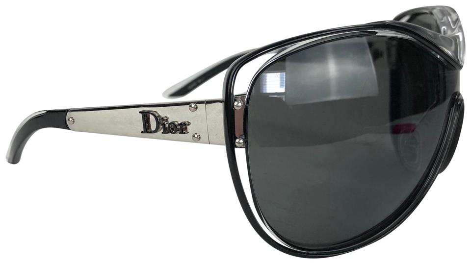 3bf61e1257f Dior DIOR Oversized Black Clear Silver Diorstriking Sunglasses Case Image 0  ...