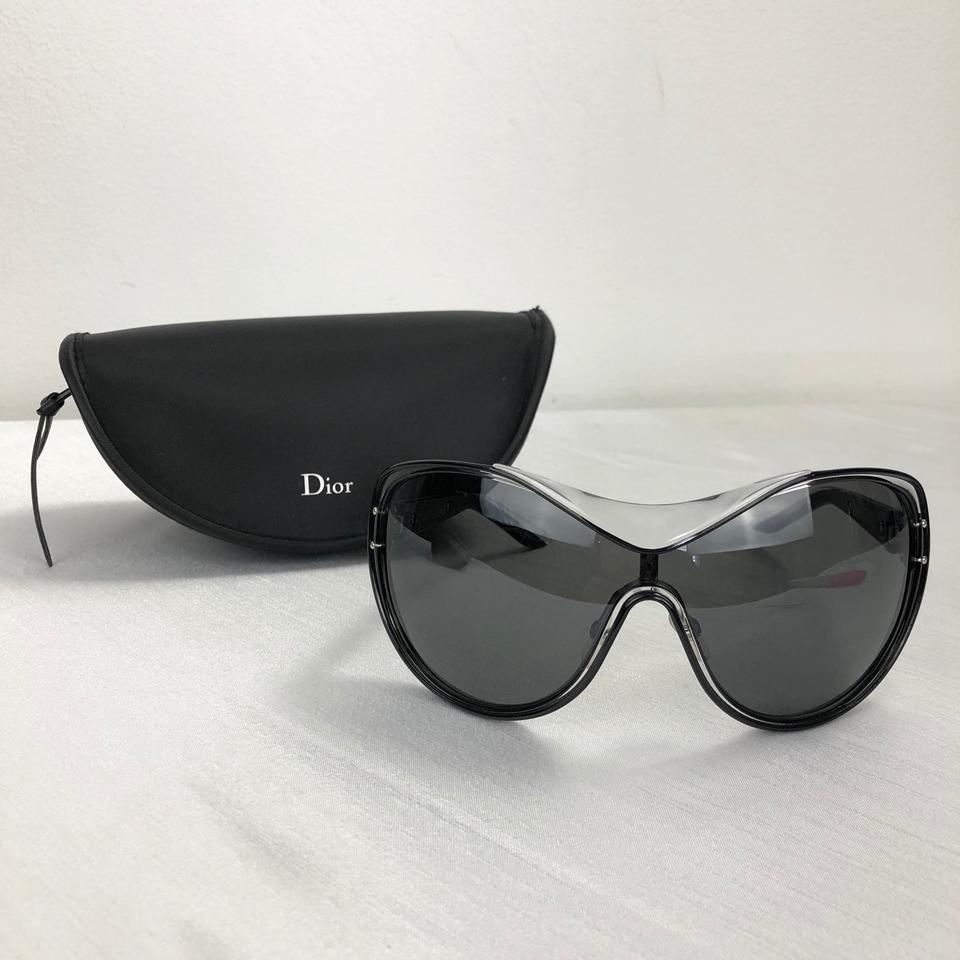 7bfad87bfa58 Dior DIOR Oversized Black Clear Silver Diorstriking Sunglasses Case Image  6. 1234567